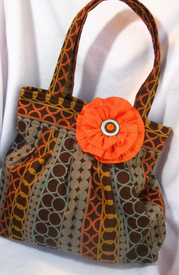 Large handbag, Orange, brown and aqua