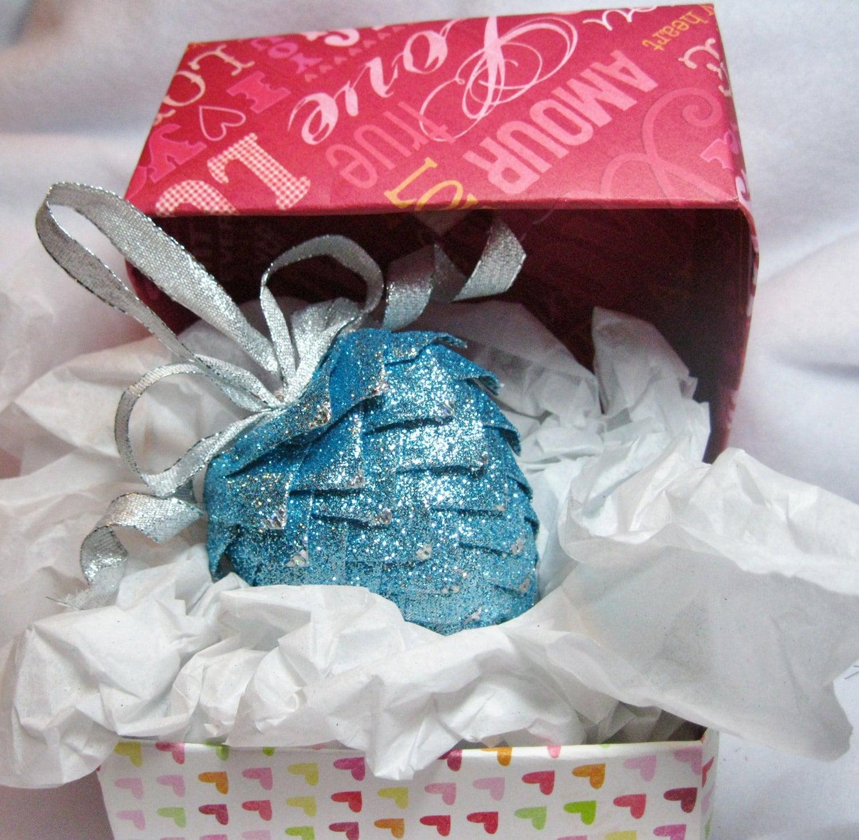 collectible handmade ribbon heart ornament, aqua blue