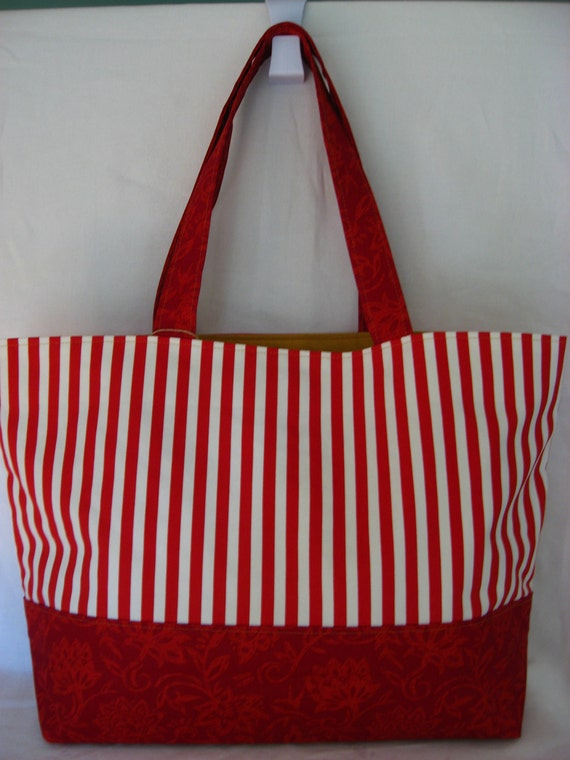 Red and White Stripes Extra Large Tote, Large Beach BAG, Work BAG, Diaper BAG, Gym Bag, Large Purse