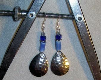 Blue Hammered Silver Teardrop Sterling Silver Dangle Earrings, Silver Teardrop Cobalt Blue Sterling Silver Earrings