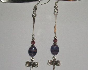 Purple Dragonfly Silver Earrings, Long Dragonfly SIlver Earrings, Purple Dragonfly Silver Dangle Earrings