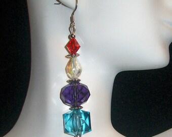 Crystal Rainbow Sterling Silver Earrings, Rainbow Sterling Silver Earrings