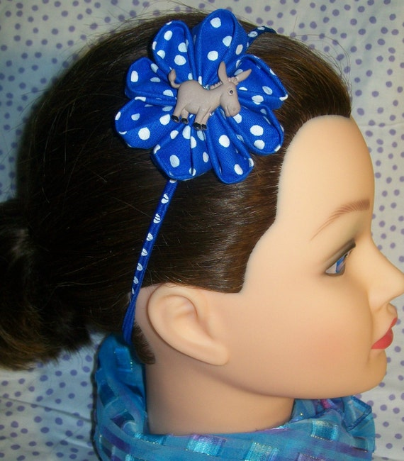 Brown Donkey and Royal Blue and White Dot Flower Headband