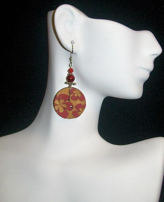 Wooden Red Summertime Flower Button Dangle Sterling Silver Earrings, Red Button Sterling Silver Earrings