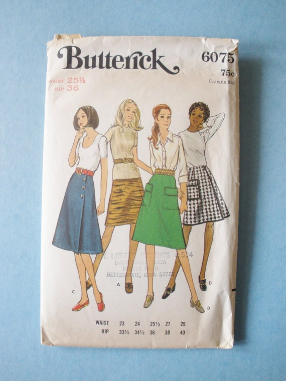 Vintage 70s Butterick 6075 Misses Skirt Pattern Waist 25 1/2 Hip 36