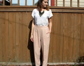 Blush Rose 80s Pale Pink High Waist Pleated Trousers, Medium