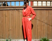 Red Romper 80s Scarlet Pleated Jumpsuit with Wrap Top, Medium