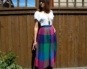 30% Off SALE...  Plaid 80s Blue & Pink Plaid Wool Pleated Skirt, Small