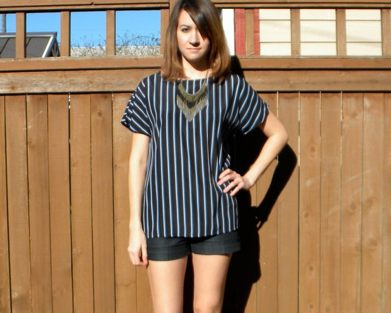 Deep & Dark 80s Black T Shirt Blouse with Blue Stripes, Small