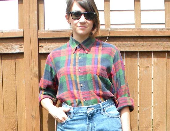 Plaid Play 90s Red & Green Print Boyfriend Button Up Shirt, Flannel, Medium