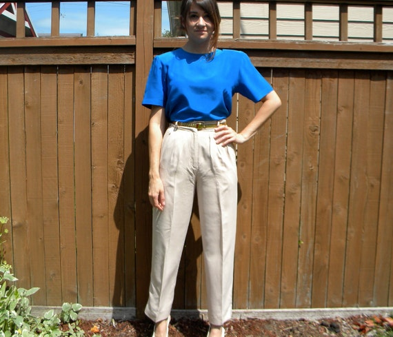 Nude Silk 80s Khaki High Waist Pleated Trousers with Pockets, Extra Small