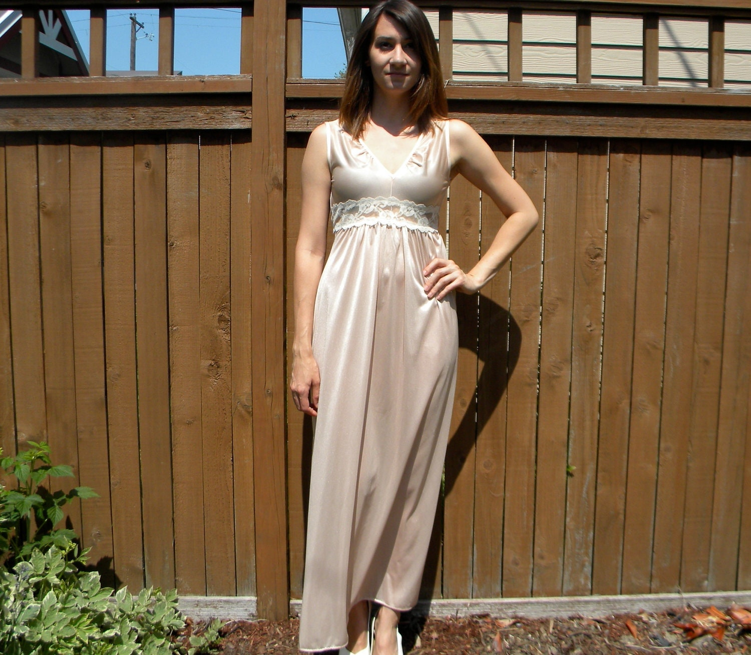 Sheer Beauty 70s Nude Amp Ivory Lace Long Negligee Slip