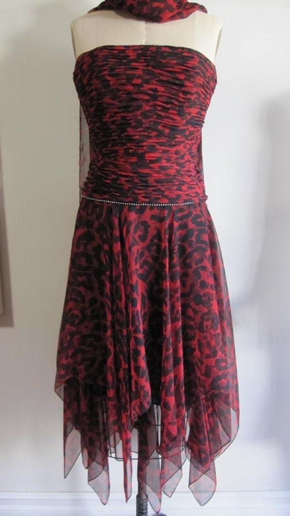 Vtg Black Red Animal print Leopard design sheer corset top evening fancy wedding bridal Dress Size 6 Small