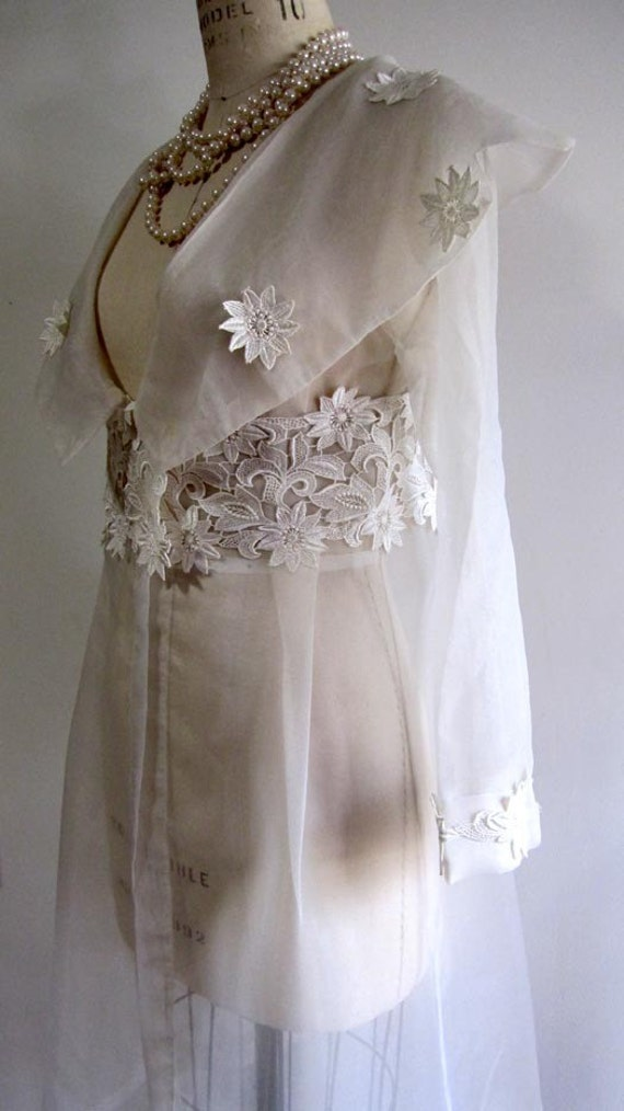 Cream Sheer Organza Tulle Laced Long Jacket Cover Up Blazer