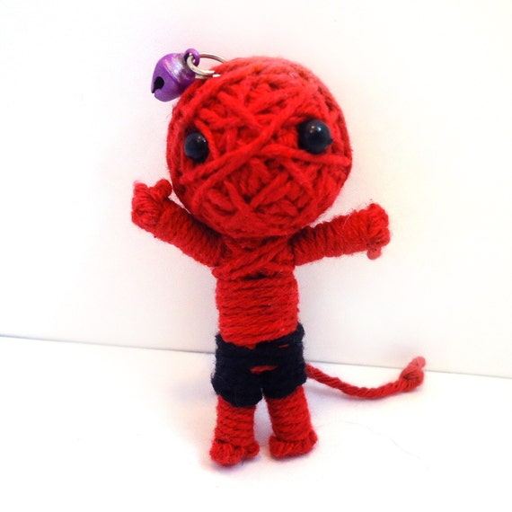 Naughty Little Devil with Tail Red and Black Zombie Voodoo Doll Mummy Pendant or FOB