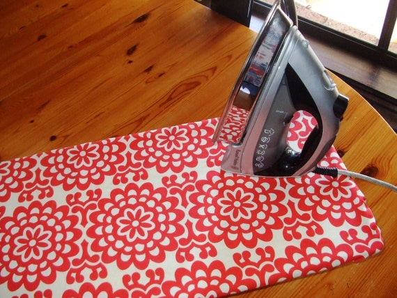 Ironing Board Cover with FREE IRON CORD tie - Table Top - cherry red wallflower by Amy Butler