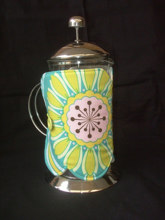 Coffee Plunger Cover - teal and yellow big bold flower HEAVILY REDUCED - CLEARANCE