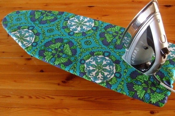 Ironing Board Cover - with FREE IRON CORD tie in matchng Navy blue and teal vintage fabric - Table Top