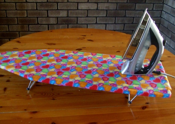 Ironing Board Cover TABLE TOP Valentine love hearts bright blue, green, pink and orange hearts