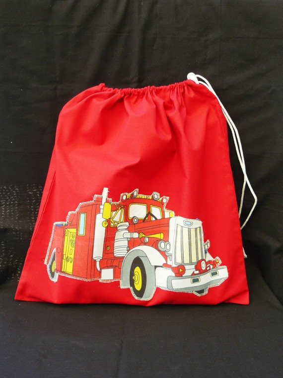 Library Tote Back to School - Vintage Red Fire Truck