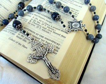 Catholic Rosary with Blue Aventurine Gemstones