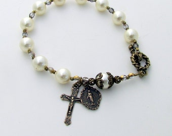 Rosary Bracelet for women -Bronze Cross and Miraculous Medal