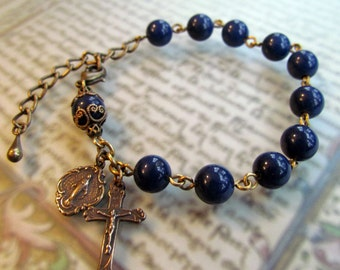Heirloom Blue Lapis Rosary Bracelet with Bronze Medals and Crucifix