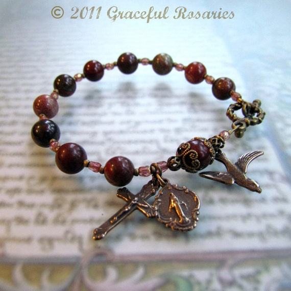 Confirmation  Gift Red Rosary Bracelet - Red Jasper Gemstone with Catholic medals