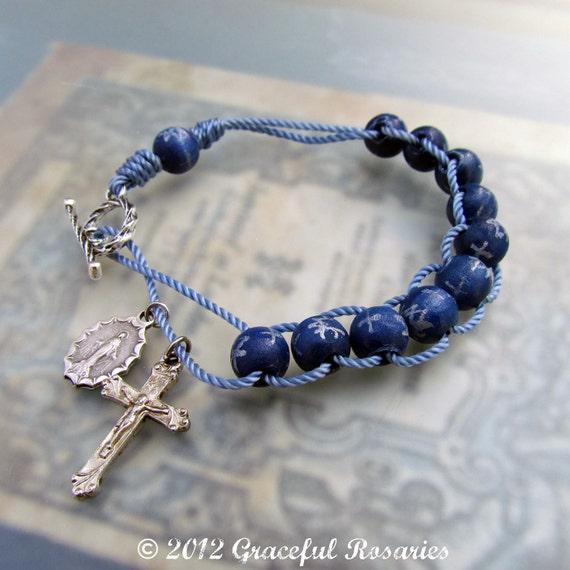 Catholic Rosary Bracelet Sliding Wood Rosary And Cord