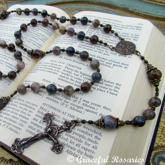 Mans Rosary:  Large Pietersite Gemstones Handmade Catholic rosary for men