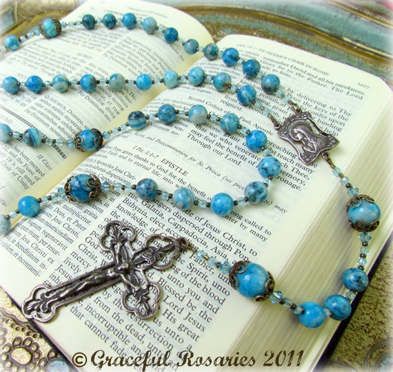 Womans Catholic Rosary beads Handmade with Turquoise Crazy Lace Agate gemstones and bronze