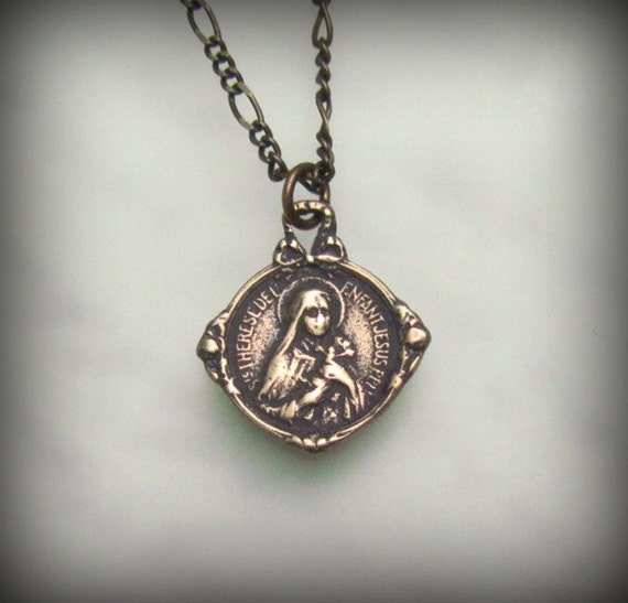 St Therese medal necklace: solid bronze french antique reproduction vintage style catholic medal