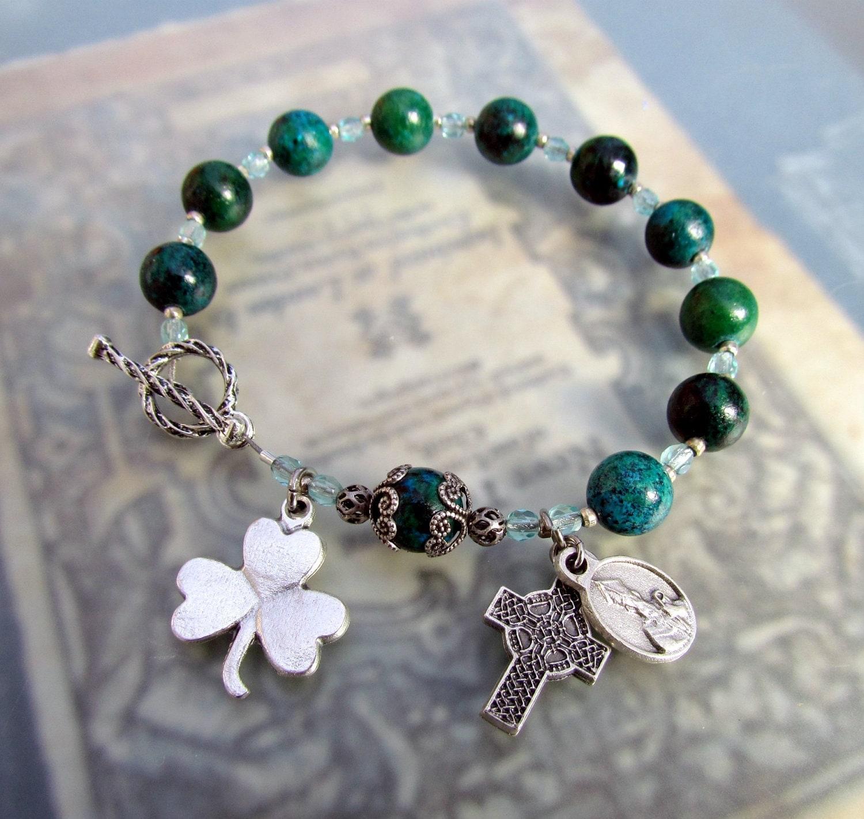 Irish Catholic Rosary Bracelet Green Shamrock Celtic Cross