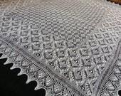 Haapsalu shawl- large hand knitted square estonian lace shawl, wedding shawl from fine wool- CUSTOM MADE
