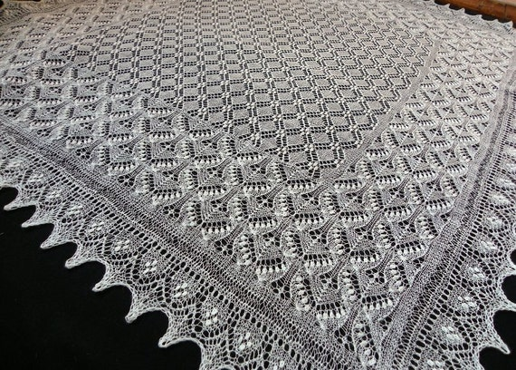 Haapsalu shawl- large hand knitted square estonian lace shawl, wedding shawl from fine wool- CUSTOM MADE