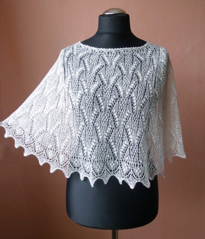 Natural White Creamy White Hand Knitted Lace Poncho From Fine