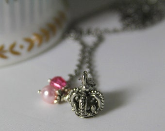 Crown Necklace pewter charm,  pink pearl, pink crystal bead