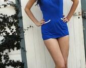 60s pinup bathing suit / cobalt blue / size med
