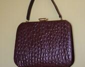 50s crocodile alligator handbag purse brown Grace Kelly style mad men