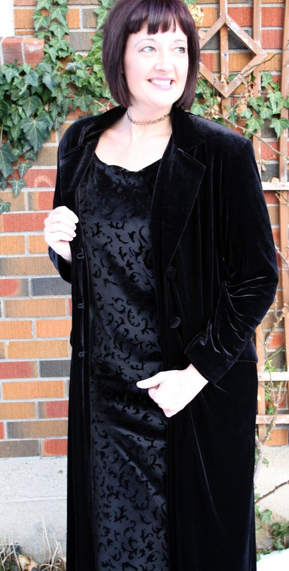 Plus Size Black Velvet Coat Steampunk Goth By
