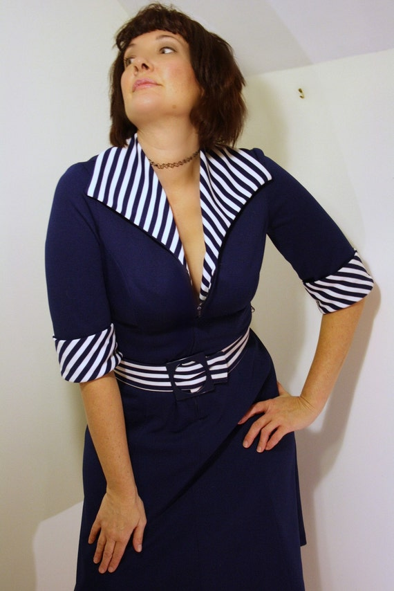 RESERVED for TRIPnip  vintage 1960s SAILOR GIRL navy and white striped collar dress
