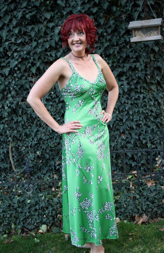 70s boho maxi dress green hippy floral spaghetti straps size medium