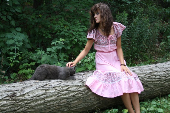 70s boho dress folk / pink ethnic mexican / 1970s gypsy