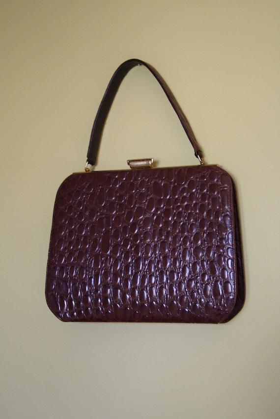 50s crocodile alligator handbag purse brown by ...