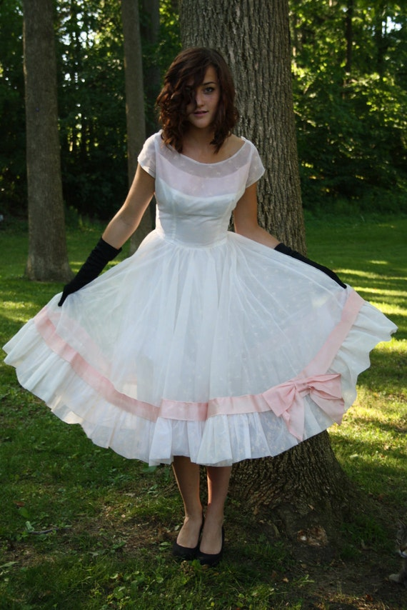 50s White Prom Dress 1950s Chiffon Party Wedding Rockabilly