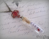 "Necklace ""Love Message In a Bottle"" Antique Brass and Vintage Heart Charm"