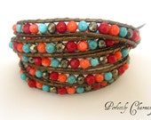 "Chan Luu Style Leather 5 Wrap Bracelet ""Coral Reef"" Coral, Pyrite and Turquoise Gemstones on Kansa Leather"