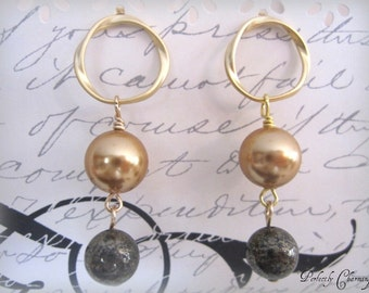 Earrings DOUBLE DROP Luxe Swarovski Crystal Pearl and Pyrite Gemstone