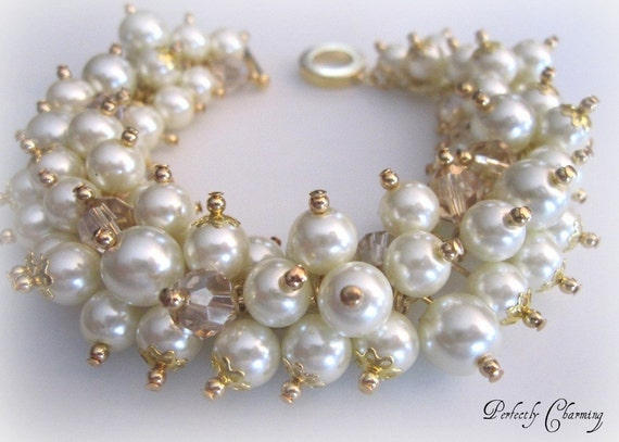 Cluster Bracelet LUXE PEARLS Glass Pearls and Swarovski Crystals