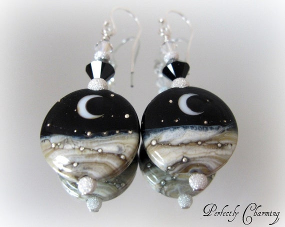 Earrings SILVERY MOON Stunning Lampwork, Swarovski Crystals Sterling Silver